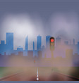 dusty road to the city with traffic lights vector image vector image