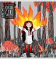 folk tale girl practicing fire magic in red forest vector image