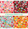 four flat valentine day seamless patterns set vector image vector image