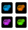 glowing neon printer with screwdriver and wrench vector image vector image