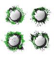 golf balls on green tee hit splash halftone badge vector image vector image