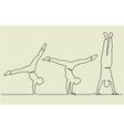 gymnastics acrobatics sport one line drawing vector image vector image