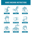 hand washing instruction step step tutorial vector image vector image