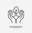 hands holding soil with tree flat line icon vector image vector image