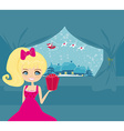 Happy New year card with Santa girl and winter vector image vector image