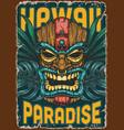 hawaii surfing colorful vintage poster vector image vector image