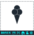 Ice cream balls in waffle cone icon flat vector image