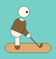 icon in flat design stick figure golf vector image vector image