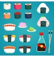 Japanese Food Set of various different types vector image