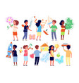 kids painting on wall preschool children drawing vector image vector image