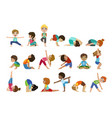 little girls doing yoga set vector image