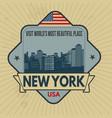 new york vintage emblem vector image