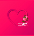 paper heart with realistic roses bouquet vector image vector image