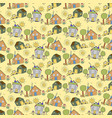 pattern seamless kids with scenery element vector image