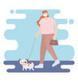 people with medical face mask woman walking vector image vector image