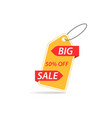 price tag with a discount on a white background vector image vector image