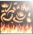 Realistic fire flames set EPS 10 vector image