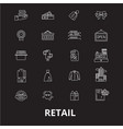 retail editable line icons set on black vector image vector image
