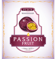 Ripe passion fruit on juice or fruit product label vector image vector image