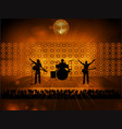 rock pop band on stage and crowd vector image vector image