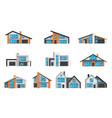 set modern luxury houses real estate cottages vector image