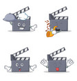 set of movie clapper character with chef trumpet vector image vector image