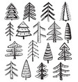 set of ornate doodle christmas trees vector image vector image