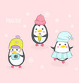 three cute penguins in hats vector image vector image