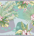 tropical leaves flowers abstract seamless pattern vector image