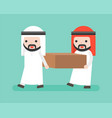 two arab businessmen carrying a block flat design vector image vector image