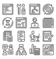 web development and technology research icons set vector image
