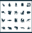 zoo icons set with rhino dolphin octopus and vector image vector image