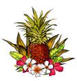 tropical flowers jungle leaves paradise flower vector image