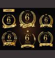 anniversary golden laurel wreath 6 years vector image vector image
