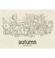 autumn mushrooms grass and vector image