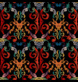 baroque floral embroidery seamless pattern vector image