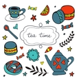 Beautiful hand drawn tea time set with sweet vector image vector image