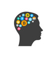 bitcoin innovation concept with head silhouette vector image vector image