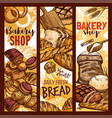 bread sketch banners for bakery shop vector image vector image