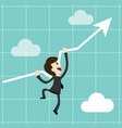 businessman or manager climbs up on chart getting vector image