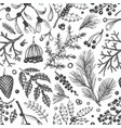 christmas seamless pattern hand drawn winter vector image vector image