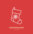 christmas stocking sock new year decoration flat vector image