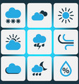 climate colored icons set collection of sunny vector image