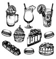 coffee cocktails and sweets made in hand drawn vector image