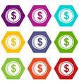coin dollar icon set color hexahedron vector image vector image