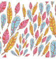 Colorful doodle feathers creative seamless pattern vector image