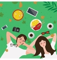 couple lying on grass enjoy relax with food in vector image vector image
