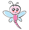 cute dragonfly on white background vector image vector image