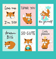 cute foxes cards template set vector image