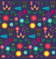 cute pattern with flat simple color flowers vector image vector image